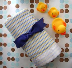 Baby Flannel Receiving Blanket Blue and Yellow Stripes by monbebes, $10.00