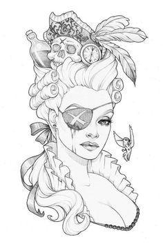 "Sketch Eyes Love this sold out work ""Keep a Weather Eye Open"" by Glenn Arthur! Be sure to check out all the great LE prints at Rhino Barking Sparrow. Sketch Tattoo Design, Tattoo Sketches, Drawing Sketches, Tattoo Drawings, Pirate Tattoo Sketch, Colouring Pages, Adult Coloring Pages, Character Art, Character Design"