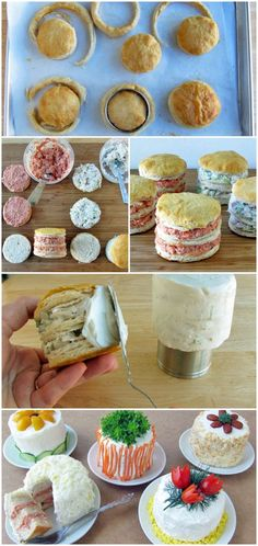 Trampantojo per la berta, Mona de pascua Mini Sandwich Cakes! Like this idea but I'd make them desserts, not sandwiches. Party Sandwiches, Sandwich Cake, Toast Sandwich, Snacks Für Party, Mini Foods, Creative Food, High Tea, Love Food, Fun Food