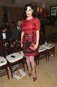Pin for Later: There Was a Rainbow of Color on Last Night's Red Carpet Dita Von Teese Dita Von Teese went for a deep red embroidered dress. Her box clutch and peep-toe pumps were the perfect accoutrements.