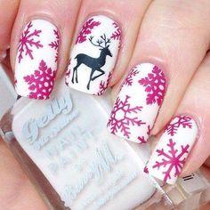 snow flakes reindeer christmas nail art