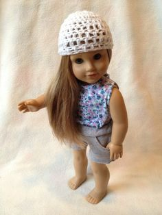 American Girl Doll Floral Tank Top with Gray Shorts and White Hat Outfit. $18.99, via Etsy.