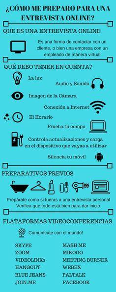 Cómo preparar una Entrevista de Trabajo online #infografia #Empleo Albert Schweitzer, Sem Internet, Helpful Hints, Resume, Writing, Marketing, Learning, Twitter, Carrera