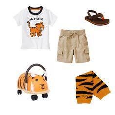 Baby boy's zoo look using BabyLegs Tiger legwarmers - *Shirt and shorts Gymboree