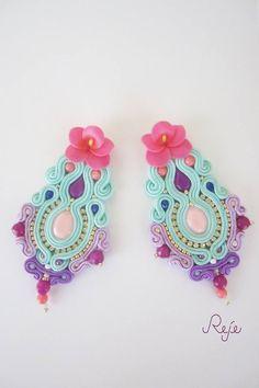 Diy Jewelry, Beaded Jewelry, Jewelery, Handmade Jewelry, Soutache Earrings, Diy Earrings, Crochet Earrings, Beading Tutorials, Beaded Embroidery