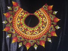 OOAK Gorgeous Large Autumnal Medicine Ceremonial Indigenous Embera Columbian Beaded Necklace