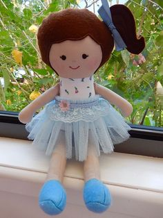 Handmade rag doll, fabric doll, soft doll, cloth doll, dressed doll, child friendly, heirloom doll, doll for play, rag doll, OOAK handmade doll with 2 dresses.  Emma is 35cm tall (14) and 100 grams (4oz) in weight, so light and easy for little ones to carry. The feature of these dolls is that they are a manageable size, clothes are easy to put on and off and there are no tiny detachable parts. Most are one of a kind, but sometimes I will repeat a design, or do so on request if I still have…