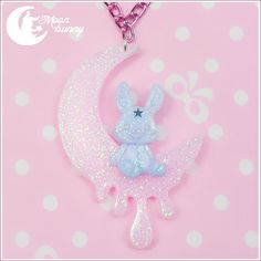 """FREE GIFT with every order over 50 $ (⌒▽⌒)☆  ♥ """"Moon Bunny"""" Necklace ♥ Materials: epoxy  Size of the pendant: 5.5x4 cm  Size of the chain: 56 cm  We've made our best to portray the colors of jewelry as accurately as possible, however colors will vary with individual monitors and subject to..."""