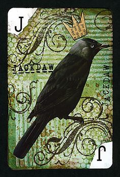 Altered playing card—This would be a great central panel for a card. Atc Cards, Card Tags, Altered Books, Altered Art, Altered Tins, Playing Cards Art, Playing Card Crafts, Art Trading Cards, Jackdaw