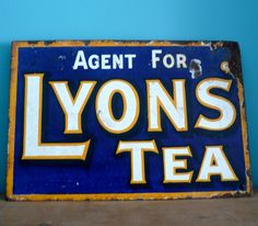 """Early 20th century enamel advertising sign for Lyons Tea agents. It's double-sided and approx 1ft 7"""" x 1ft 1"""". A real blast from the past!"""