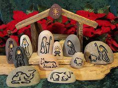 Engraved Stone Nativity Set