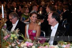 Queen Silvia, Crown Princess Victoria, Princess Madeleine, and Princess Sofia of Sweden stepped out in tiaras and gorgeous jewelry at the Nobel Prize Ceremony in Stockholm, Sweden. Queen Sophia, Princess Sofia Of Sweden, Elegant Ball Gowns, Gold Gown, Royal Tiaras, Pink Gowns, Swedish Royals, Crown Princess Victoria, Elie Saab
