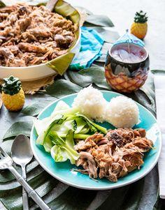 Hawaiian Style Slow Cooker Kalua Pork - Pineapple and Coconut Boneless Pork Shoulder Roast, Pork Roast, Easy Family Dinners, Easy Meals, Pork Wraps, Roasted Ham, Kalua Pork, Island Food, Pork Recipes