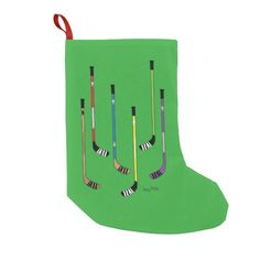 Hockey Sticks Christmas Stocking. Hang some hockey on your hearth for Christmas.