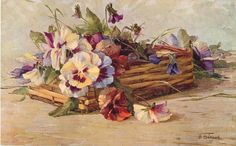 pansies in oblong wicker basket