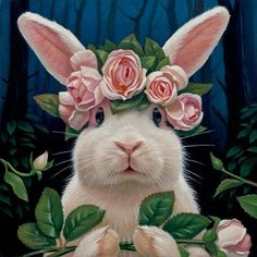US Shipping Adorable Bunny Rabbit Pink Roses Diamond Painting Kit. by OurCraftAddictions Rabbit Art, Bunny Rabbit, Pink Rabbit, Funny Bunnies, Cute Bunny, Lapin Art, Animals And Pets, Cute Animals, Art Fantaisiste