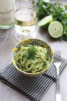 Cilantro, spinach, lime pesto sauce to serve with pasta ~ I think this sauce would also marry well with chicken. Or do your own experimenting!