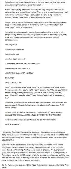 Why we love Tony Stark as a character and a hero. (Commentary by knightinironarmor with reply by jenalopepen on Tumblr.)
