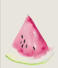 This watercolor illustration shows the difference between botanical illustration and merely suggesting a slice of watermelon. Art Watercolor, Simple Watercolor Paintings, Watercolor Beginner, Watercolor Tutorials, Watercolor Pencils, Art Paintings, Painting & Drawing, Painting Abstract, Body Painting