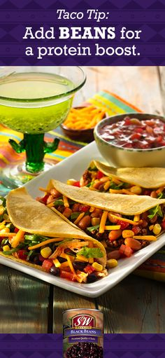Add beans to your favorite beef taco or swap them in for a meatless taco that's still high in protein. You'll get a protein-packed meal without blowing your grocery budget