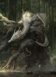 White dragon beast, forest dragon with tusks dragon head portrait fantasy art in the wood moor, on trunk, mythical creature design concept art illustration inspiration and ideas Fantasy Art Engine Fantasy Wesen, Dragon Medieval, Fantasy Kunst, Cool Dragons, Dragon's Lair, Dragon Artwork, Dragon Pictures, Fantasy Monster, White Dragon
