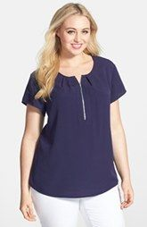 Anne Klein Zip Placket Cap Sleeve Blouse (Plus Size)