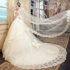 Terrific Ball Gown Strapless Floor-length Lace Wedding Dress : Tidebuy.com