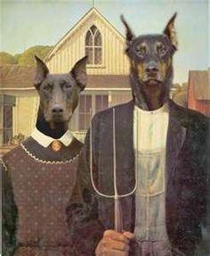 Funny Dog Art: American Gothic Doberman Art
