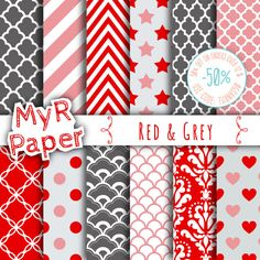 Red Digital Paper: Red & Grey Paper Pack and by MyRpaper on Etsy