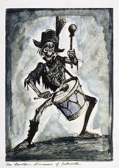 Disneyland Haunted Mansion Concept Art- Marc Davis - Drummer Skeleton