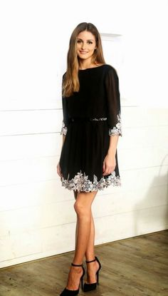 Fabulous Looks from Olivia Palermo You'll Want to Emulate ... Black Beauty   How to elongate your legs with the right length dress and the right height heels.