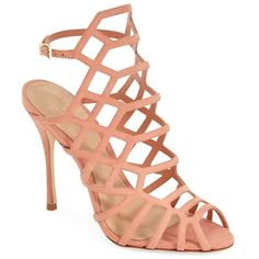 """Schutz 'Juliana' Sandal, 4"""" heel ($190) ❤ liked on Polyvore featuring shoes, sandals, heels, sweet peach, leather ankle strap sandals, peach sandals, ankle strap heel sandals, leather sole shoes and high heel shoes"""