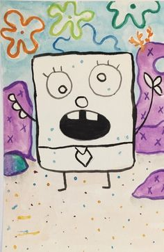 Spongebob doodlebob inspired Original watercolor painting SpongeBob Doodlebob inspiriert Original 4 x 6 Aquarell Funny Paintings, Cute Canvas Paintings, Paintings Famous, Mini Canvas Art, Easy Paintings, Watercolor Paintings, Spongebob Painting, Spongebob Drawings, Spongebob Easy Drawing