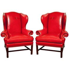 1stdibs Pair Of Red Leather Wing Chairs