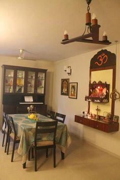 Pooja ghar / mandir room design for apartment Design Apartment, Apartment Living, Apartment Ideas, Temple Design For Home, Mandir Design, Interior Design Minimalist, Interior Modern, Ikea, Pooja Room Door Design