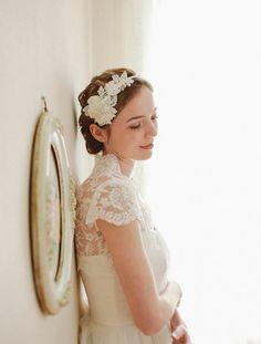 Lace wedding headband bridal headband flower by woomeeBridal