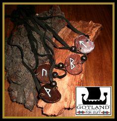 Rustic leather rune necklaces- -  #runes #heathen_design - #vikings - #viking_runes -