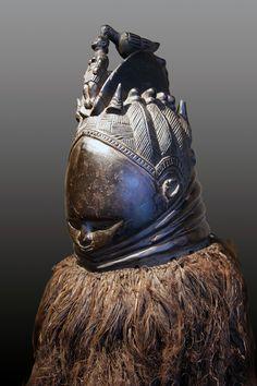 Africa | Sowei (Sande mask) from the Gola people of Sierra Leone. | Wood, vegetal fibers