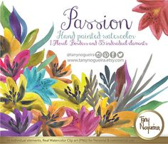 Passion Colorful Flowers  Watercolor, Clipart, PNG, hand painted,  party, for invitations, blog, cards, quotes, prints,