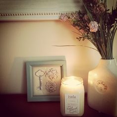Burning the most delicious vanilla soy candle, by isola. YUM!