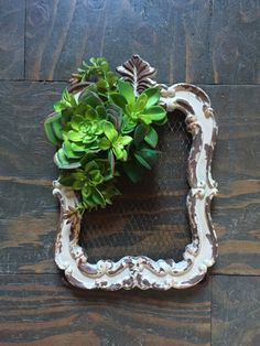 Faux succulent jewelry display by thewoodandthistle on Etsy