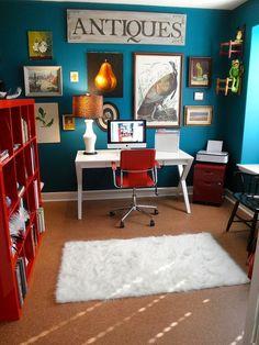 Ideias de decoração - home office em tons de azul