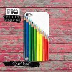Colored Pencils Cute Rainbow Art Custom Case iPod Touch 4th Generation or iPod Touch 5th Generation Rubber or Plastic Case on Etsy, $14.99