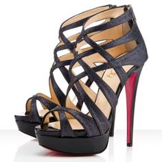 Christian Louboutin Sandals Balota 140mm Glitter Black - $117.89