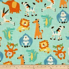 Swinging Safari Tossed Animals Green from @fabricdotcom  From A.E. Nathan Fabrics, this cotton print fabric is perfect for quilting, apparel and home decor accents. Colors include mint, green, blue, orange, white, yellow and brown.