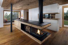Kitchen Room Design, Modern Kitchen Design, Interior Design Kitchen, Kitchen Decor, Home Fireplace, Fireplace Design, House Rooms, Home Living Room, New Kitchen