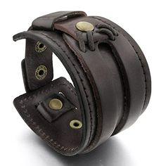 MunkiMix Alliage Genuine Leather Cuir Véritable Bracelet Bracelet Menotte Brun Punk Rock Homme