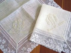 d695e58879 Wedding Handkerchief  Ivory Color Irish Linen Lace Handkerchief with 3-Initial  Monogram and Date