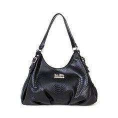 Coach Embossed Logo Medium Black Shoulder Bags BCH