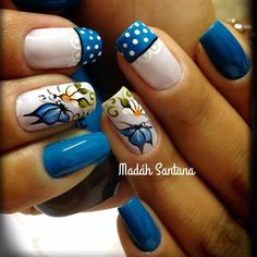 Fails design summer spring art tutorials ideas for 2019 Trendy Nail Art, Stylish Nails, Fabulous Nails, Gorgeous Nails, Hot Nails, Hair And Nails, Gel Nail Art, Flower Nails, Blue Nails